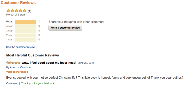 Wow! Someone read the ebook! And gave it 5 stars!